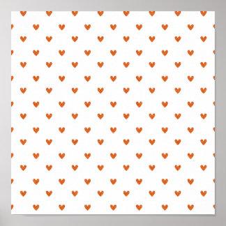 Burnt Orange Glitter Hearts Pattern Poster