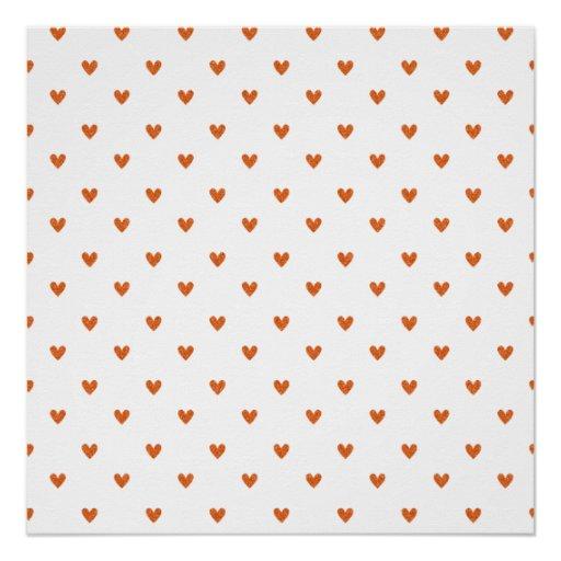 Burnt Orange Glitter Hearts Pattern Perfect Poster
