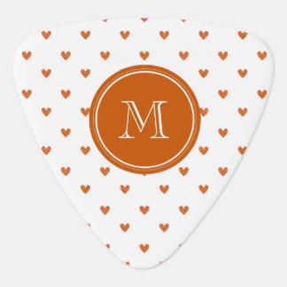 Burnt Orange Glitter Hearts with Monogram Guitar Pick