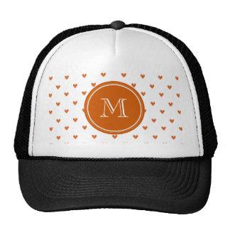 Burnt Orange Glitter Hearts with Monogram Trucker Hat