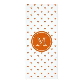Burnt Orange Glitter Hearts with Monogram 4x9.25 Paper Invitation Card