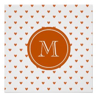 Burnt Orange Glitter Hearts with Monogram Perfect Poster