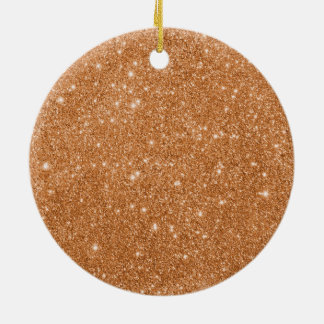 Burnt Orange Glitter Sparkles Ceramic Ornament
