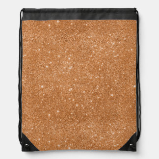 Burnt Orange Glitter Sparkles Drawstring Bag