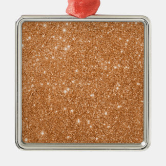 Burnt Orange Glitter Sparkles Metal Ornament