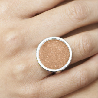 Burnt Orange Glitter Sparkles Photo Ring