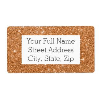 Burnt Orange Glitter Sparkles Shipping Label