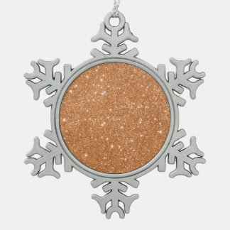 Burnt Orange Glitter Sparkles Snowflake Pewter Christmas Ornament