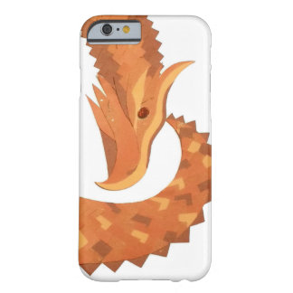 Burnt orange heart dragon on white barely there iPhone 6 case