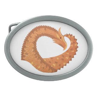 Burnt orange heart dragon on white belt buckles