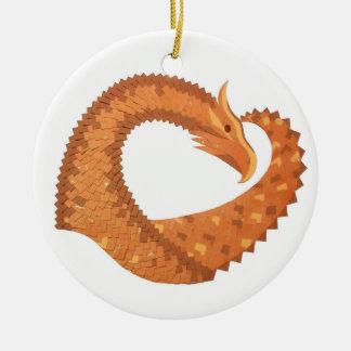 Burnt orange heart dragon on white ceramic ornament