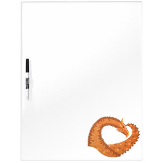 Burnt orange heart dragon on white dry erase board