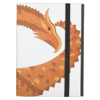 Burnt orange heart dragon on white iPad air cover
