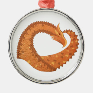 Burnt orange heart dragon on white metal ornament