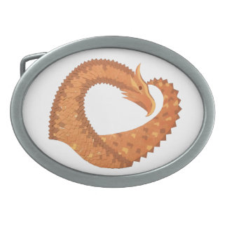 Burnt orange heart dragon on white oval belt buckle