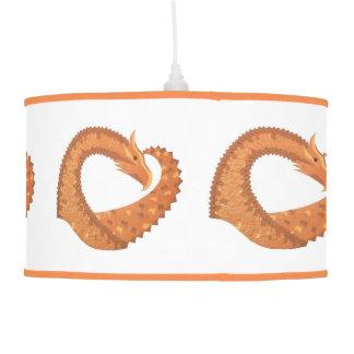 Burnt orange heart dragon on white pendant lamp