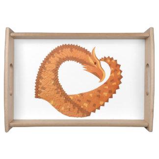 Burnt orange heart dragon on white serving tray