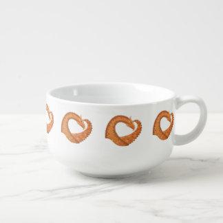 Burnt orange heart dragon on white soup mug