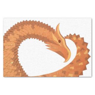 Burnt orange heart dragon on white tissue paper