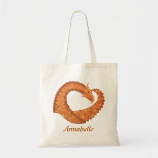 Burnt orange heart dragon on white tote bag