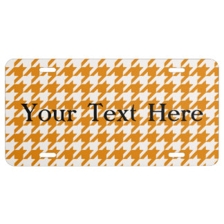 Burnt Orange Houndstooth 1 License Plate
