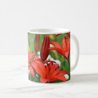 "Burnt Orange Lilies, Yarrow  ""The Pearl"" Coffee Mug"