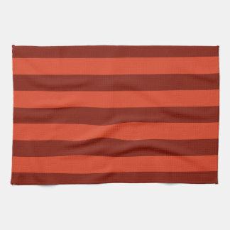 Burnt Orange-Maroon Broad Stripe Kitchen Towel