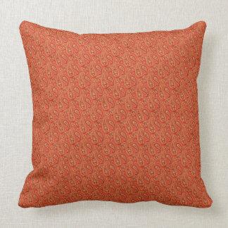 "Burnt Orange-Maroon Paisley/Maroon 20"" Pillow"