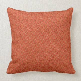 """Burnt Orange-Maroon Paisley Two-Sided 20"""" Pillow"""