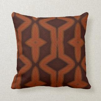 Burnt orange native art pattern pillow