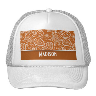Burnt Orange Paisley Floral Mesh Hat