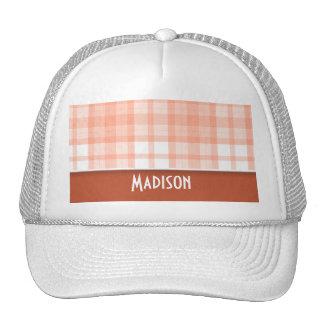Burnt Orange, Peach Plaid Trucker Hat