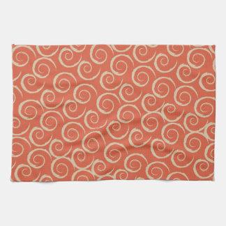 Burnt Orange Retro Swirl Pattern Kitchen Towel