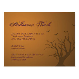 Burnt orange scary tree Halloween party invitation Postcard