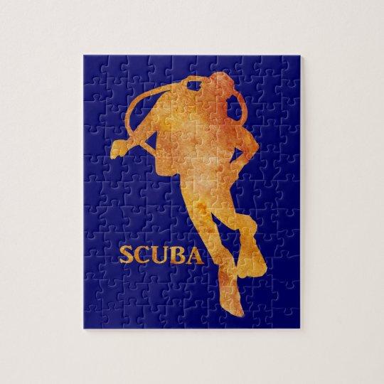 Burnt Orange SCUBA Diver Jigsaw Puzzle