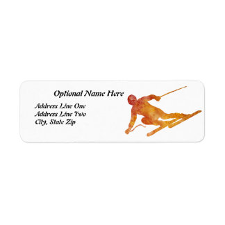 Burnt Orange Skier with Customizable Text