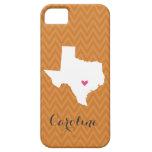 Burnt Orange Texas Love Chevron Monogram iPhone 5 Covers