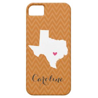 Burnt Orange Texas Love Chevron Monogram Case For The iPhone 5