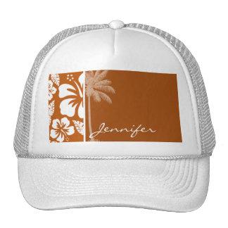 Burnt Orange Tropical Hibiscus Palm Trucker Hats