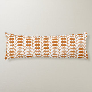 Burnt Orange & White zigzag lattice work design Body Pillow