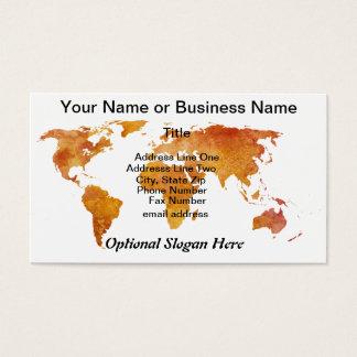 Burnt Orange World Map Business Card