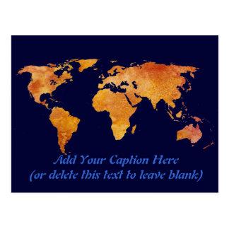 Burnt Orange World Map Postcard