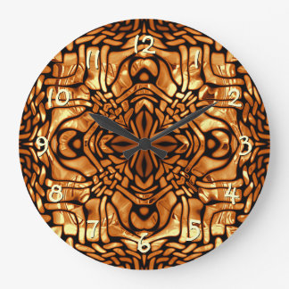 Burnt Orange Yellow Brown African Mosaic Pattern Large Clock