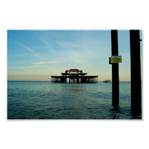 Burnt out Brighton pier Poster