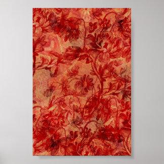 Burnt Red Orange Flower Pattern Background Print