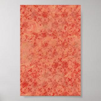 Burnt Red Orange Pattern Background Poster