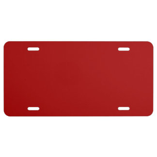 Burnt Red Solid Color License Plate