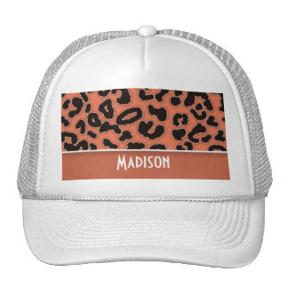 Burnt Sienna Leopard Animal Print Mesh Hat