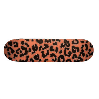 Burnt Sienna Leopard Animal Print Skate Board Deck