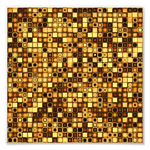 Burnt Terra Cotta Textured Mosaic Tiles Pattern Photo Art